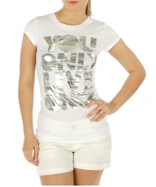 wholesale Cotton mix round neck T U only live once WT