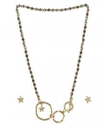 wholesale Star studs on loops necklace set WG/RH fashionunic