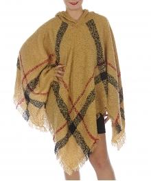 Wholesale Small plaid fringe bottom hooded pancho Beige