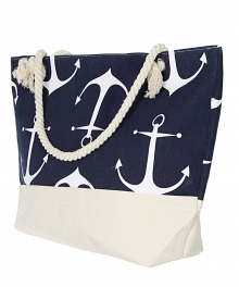 Wholesale S73A Extra large canvas beach bag Anchor WHT