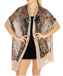 wholesale R64 Paisley Print Knit Shawl BG fashionunic