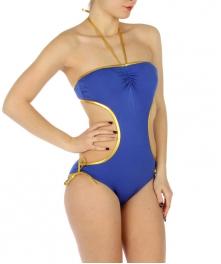 wholesale K16 Gold trim cut out swimsuit RB/Gold