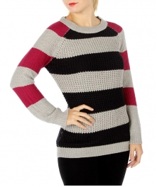 Wholesale R28 Colorblock striped knit sweater Grey