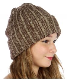 wholesale O07 Stripe ribbed knit beanie Brown