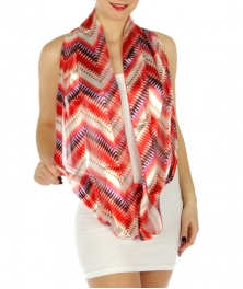 wholesale H45 Summer ikat infinity scarf Red fashionunic