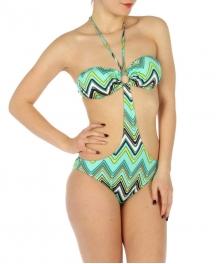 wholesale K18 zigzag print one piece swimsuit Mint