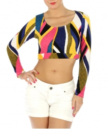 wholesale K17 Multicolored long sleeve crop top