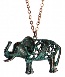 Wholesale WA00 Cutout elephant pendant necklace OG