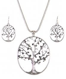 Wholesale WA00 Tree of life cutout pendant necklace set AS