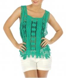 wholesale N10 Open knit cotton crochet top BK