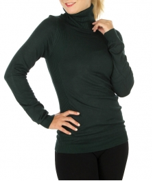 Wholesale G27 Long sleeve ribbed turtleneck sweater Green