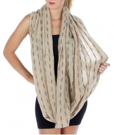 Wholesale S81 Abstract stitched infinity scarf Beige