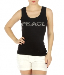 wholesale H03 Peace rhinestones cotton tank top BK