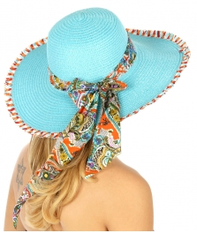 wholesale V02 Paisley bow tie floppy sun hat Coral