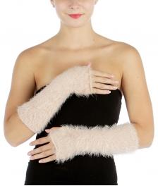 wholesale L27 Lurex furry knit long arm warmer BKGL