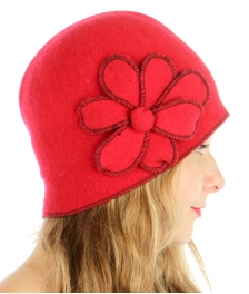 wholesale K54 Flower corsage Wool felt cloche Red