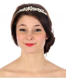 wholesale N35 Floral crystal and pearl tiara Silver