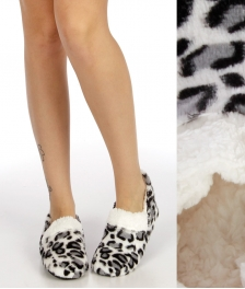 Wholesale WA00 Animal plush fleece moccasin slipper Grey/Leopard