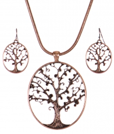 Wholesale WA00 Tree of life cutout pendant necklace set COP