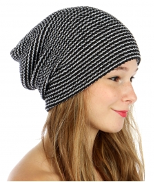 wholesale F08 Pinstriped, slouchy beanie Black