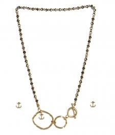wholesale Anchor studs on loops necklace set WG/RH fashionunic