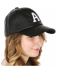Wholesale R08E Faux leather 'A' embroidered baseball cap WHBLK