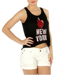 wholesale New York Sequin embellished cotton tank BK