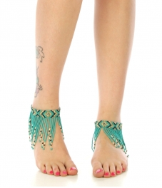 wholesale N46 Tribal bead tassel anklet Aqua fashionunic