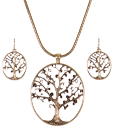 Wholesale WA00 Tree of life cutout pendant necklace set AG
