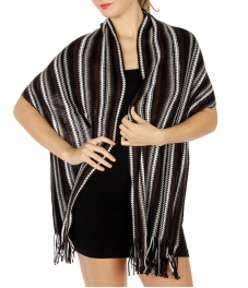 wholesale S06 Multi-color knitted shawl BK/GY