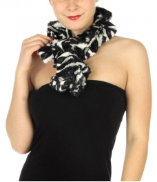 wholesale O45 2 layer faux fur zebra ruffle scarf BK/WT