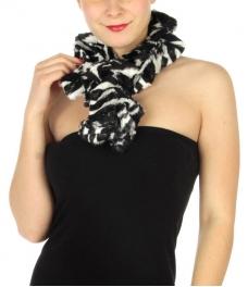 wholesale O45 2 layer faux fur zebra ruffle scarf BK/WT