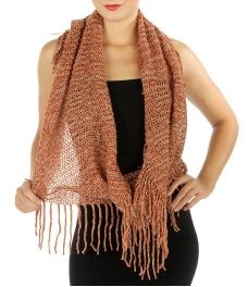 Wholesale R28 Marled fringe knit infinity scarf Orange