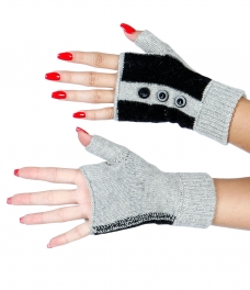 Wholesale S50C Fingerless Button Gloves BK