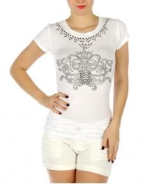 wholesale H03 Crown design stud cotton T shirt Black