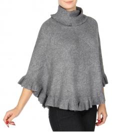 Wholesale U14B Ruffle knit poncho Grey