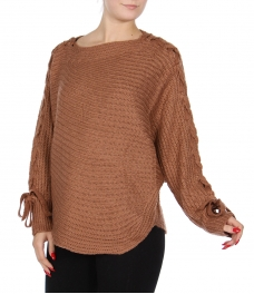 Wholesale Q51D Uneven hem sweater Cream