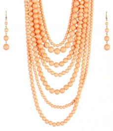 wholesale Long chunky pearl necklace set CO fashionunic