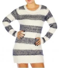 Wholesale P03E Fuzzy Stripe Tunic Sweater Off White/Navy