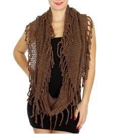 Wholesale U33C Loosely knit fringe infinity scarves assorted color Dozen