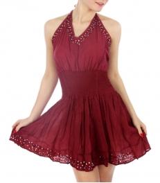 Wholesale G28 Halter dress Burgundy Free size