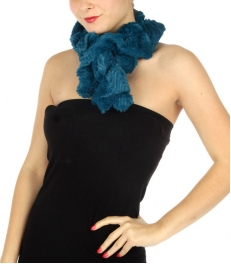 wholesale P12 2 layer faux fur wave ruffle scarf Emerald