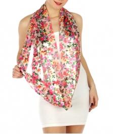 wholesale H45 Flower infinity scarf Fuchsia fashionunic