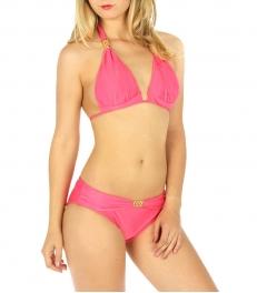 Wholesale K95 Solid embellished halter bikini Pink