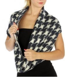 Wholesale O48 Colorblock houndstooth infinity scarf BL