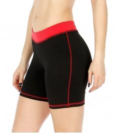 Wholesale P05 Contrast waistband yoga shorts BK