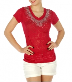 wholesale G31 Burn out rhinestone cotton tee Coral