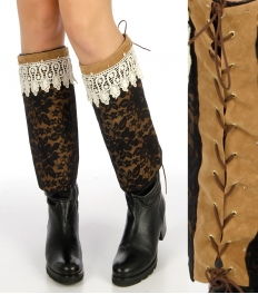 Wholesale Q87 Lace covered faux suede boot covers Gold/Black
