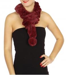 Wholesale U33B Plush frill short scarves w/ plush ball assorted color Dozen