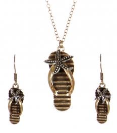 Wholesale WA00 Flipflop & starfish pendant necklace set GB